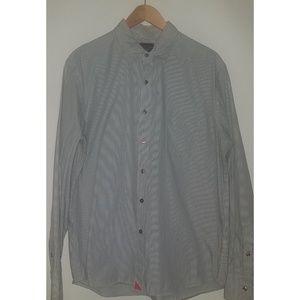 Untuckit Grey Striped Shirt Sz XL